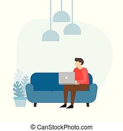 sofá, laptop., home., trabalho, homem, homem negócios