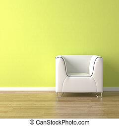 sofá, verde, desenho, interior, branca