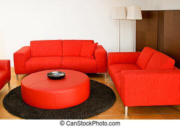sofás, vermelho