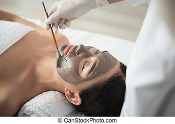 sofrendo, esteticista, tratamento, pele, profissional, cuidado