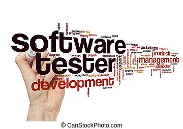 software, palavra, nuvem, testador