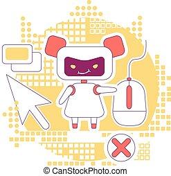 software, webpages, fraud., robô, magra, teia, illustration., 2d, clicando, bot, personagem, caricatura, ligações, idéia, conceito, automatizado, linha, clique, anúncios, criativo, design., vetorial, internet vender, mau