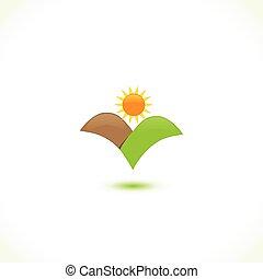 sol, ícone, montanhas, logotipo