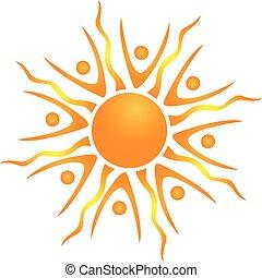 sol, abstratos, vetorial, trabalho equipe, ícone