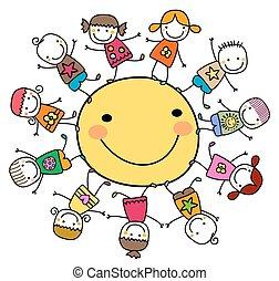 sol, feliz, crianças, ao redor, tocando