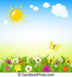 sol, flores
