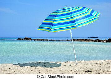 sol, guarda-chuva, mar