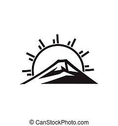 sol, logotipo, montanha, vetorial, monogram, raios