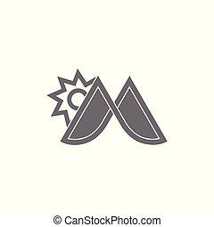 sol, montanha, m, vetorial, logotipo, letra