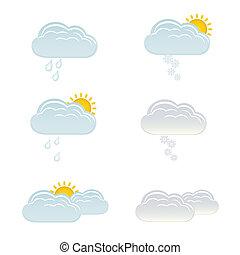 sol, nuvens, neve, chuva