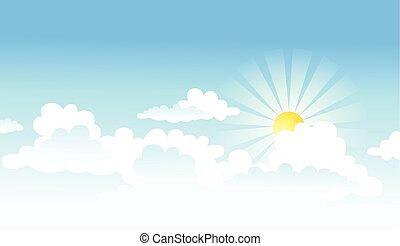 sol, nuvens