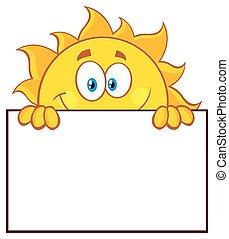 sol, sobre, em branco, tábua, sinal