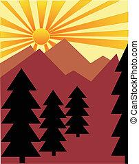 sol, sobre, levantar, montanhas