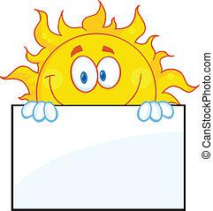 sol, sobre, personagem, tábua, sinal
