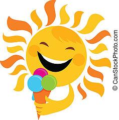 sol, sorrindo, comer, sorvete