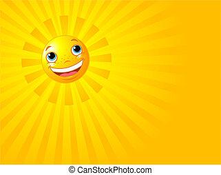 sol, sorrir feliz, fundo, verão