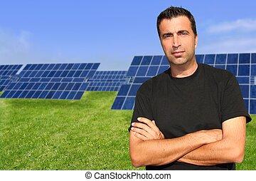 solar, pratos, retrato, homem, ecologia, verde, energia