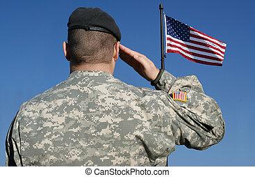 soldado, bandeira, salutes