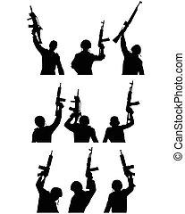 soldados, silhuetas, armas