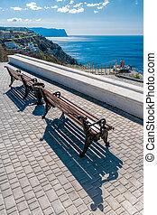 solidão, mountain., relaxe, espaço, ou, ensolarado, vazio, bonito, costa, viagem, bancos, vista., park., mar, madeira, abertos, concept., vista, negligenciar, banco