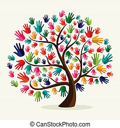 solidariedade, mão, coloridos, árvore
