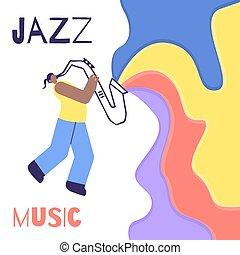 som, apartamento, cor, cartaz, música jazz, saxofone, homem
