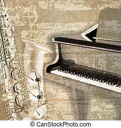 som, grunge, abstratos, fundo, piano grande