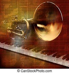 som, grunge, abstratos, fundo, piano, trompete