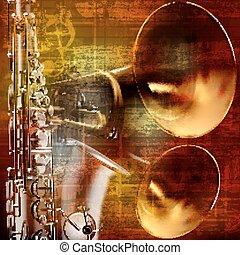 som, grunge, abstratos, saxofone, fundo, trombetas