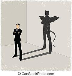 sombra carcaça, cavalheiro, mal