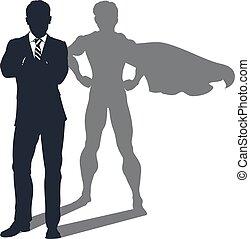 sombra, homem negócios, superhero