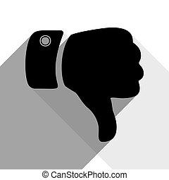 sombras, apartamento, illustration., cinzento, dois, sinal, experiência., pretas, vector., branca, mão, ícone