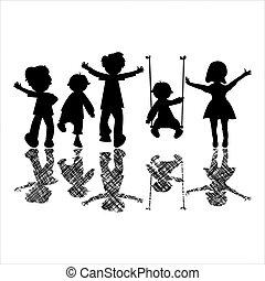 sombras, pequeno, feliz, listrado, crianças