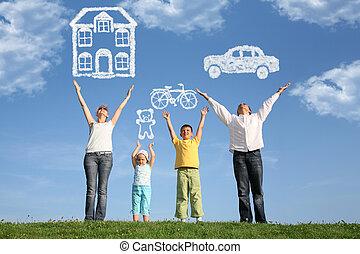 sonho, família, colagem, cima, quatro mãos, capim