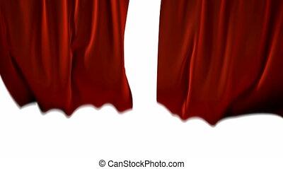 soprado, cortinas vermelhas, vento