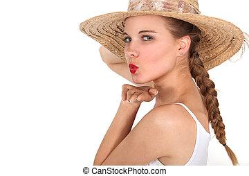 soprando, mulher, jovem, beijo