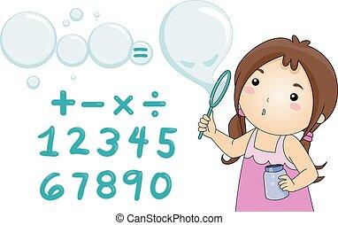 sopro, equação, resolva, bolhas, menina, criança