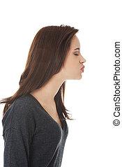 sopro, mulher, beijo