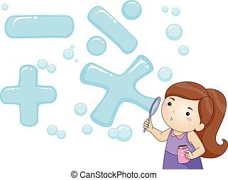 sopro, símbolos, menina, bolha, matemática, criança