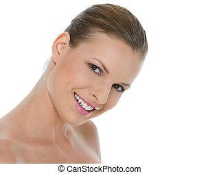 sorrindo, beleza, isolado, retrato, branca, menina