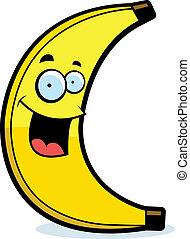 sorrindo, caricatura, banana