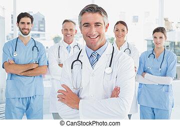 sorrindo, doutor, companheiro, doutores