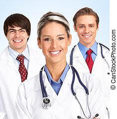 sorrindo, doutor, médico, woman.