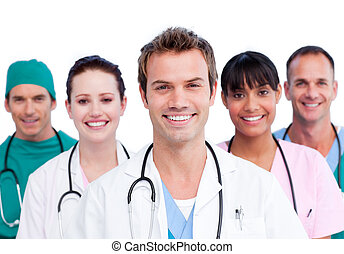 sorrindo, equipe médica, retrato