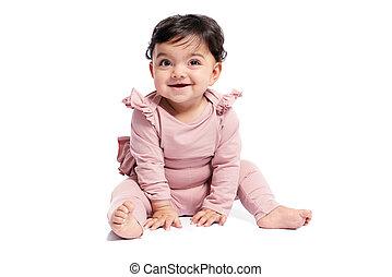 sorrindo, estúdio, floor., posing bebê