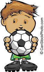 sorrindo, futebol, futebol americano segurando, criança