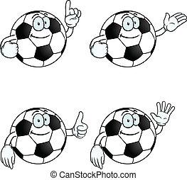 sorrindo, futebol, jogo, caricatura