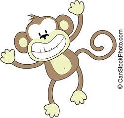 sorrindo, macaco