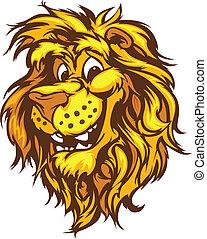 sorrindo, mascote, vetorial, caricatura, leão