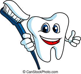 sorrindo, tooth-brush, dente